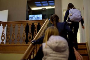 Montgomery International School pupils-stair